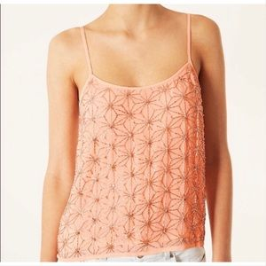 TopShop embellished metallic flower cami crop top